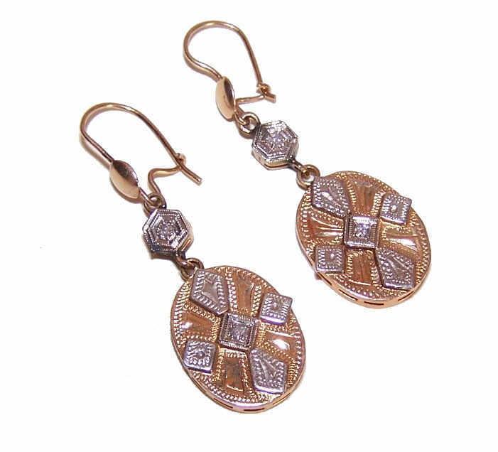 OLD STORE STOCK!  Art Deco 14K Gold & Diamond Drop Earrings!