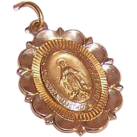 OLD STORE STOCK! Vintage 14K Gold Religious Medal - Virgin Mary/Miraculous Medal!