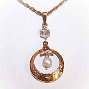 OLD STORE STOCK!  Art Deco 14K Gold, Diamond & Cultured Pearl Lavaliere!