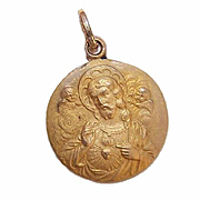 OLD STORE STOCK! Vintage 14K Gold Religious Medal - Sacred Heart of Jesus with Angels!