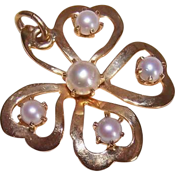 OLD STORE STOCK! 14K Gold & Cultured Pearl Pendant/Charm - Four Leaf Clover!