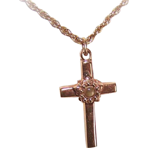 OLD STORE STOCK! 14K Gold Religious Cross Pendant with Stanhope - The Lords Prayer!