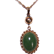 OLD STORE STOCK! 14K Gold & Nephrite Jade Pendant by Fisher!