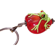 Whimsical SILVER & Glass Pendant - Frog on a Red Heart!