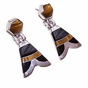 Vintage MEXICAN 950 Silver, Tigereye & Onyx Drop Earrings!