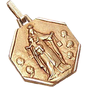 Art Deco FRENCH FIX 18K Gold Filled Pendant - Our Lady of the Scapular/Sacred Heart of Jesus!