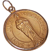 OLD STORE STOCK! Vintage 14K Gold Religious Medal - Saint Jude!