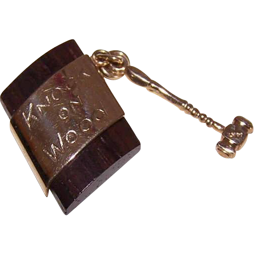 Vintage 14K Gold Charm by Carl Art - Knock on Wood (with Gavel/Hammer)!