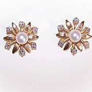 OLD STORE STOCK! Art Deco 14K Gold, .24CT TW Diamond & 5.5mm Cultured Pearl Earrings with Original Box!