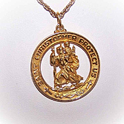 OLD STORE STOCK! Vintage 14K Gold Religious Medal - Saint Christopher!