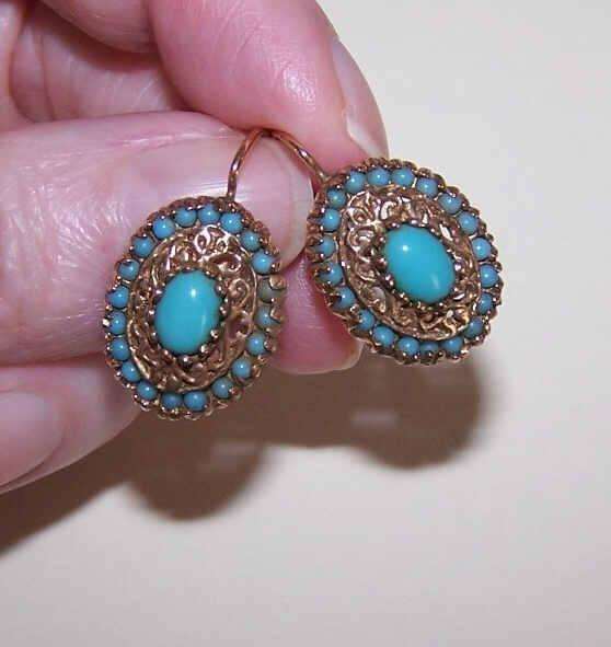 VICTORIAN REVIVAL 14K Gold & Glass Turquoise Pierced Earrings!