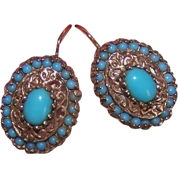 VICTORIAN REVIVAL 14K Gold & Persian Turquoise Pierced Earrings!