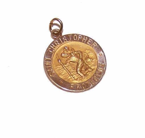 OLD STORE STOCK! Vintage 14K Gold Religious Medal - Saint Christopher!