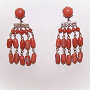 ANTIQUE EDWARDIAN 14K Gold & Salmon Coral Drop Earrings!