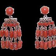 ANTIQUE EDWARDIAN 14K Gold & Salmon Coral Drop Earrings!