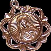 Vintage 14K GOLD Religious Medal - Sacred Heart of Jesus!
