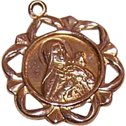 Vintage 14K GOLD Charm - Religious, Medal, Pendant, Saint Therese, St Thérèse of Lisieux