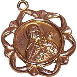 Vintage 14K GOLD Religious Charm, Pendant or Medal - Saint Therese * St Thérèse of Lisieux!