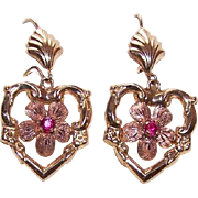 OLD STORE STOCK! Vintage 14K Gold & Ruby Floral/Heart Drop Earrings!