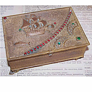 ART DECO Bronze Metal & Rhinestone Jewelry Box - Treasure Box!