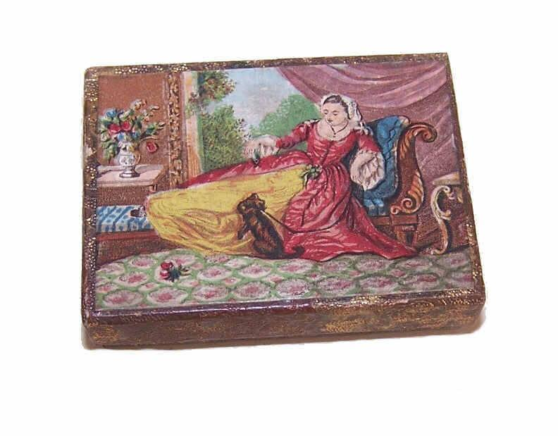 ANTIQUE VICTORIAN French Gift Box/Doll Sized Container - Lady with Puppy!