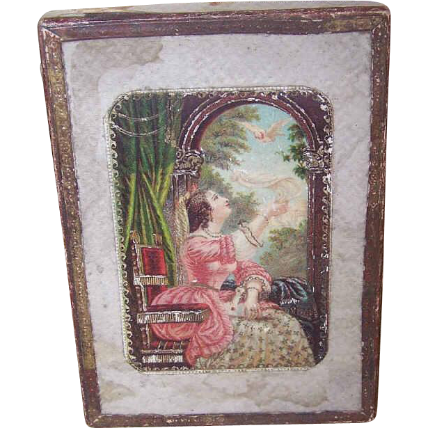 ANTIQUE French Victorian Gift Box - A Lady with Her Bird!