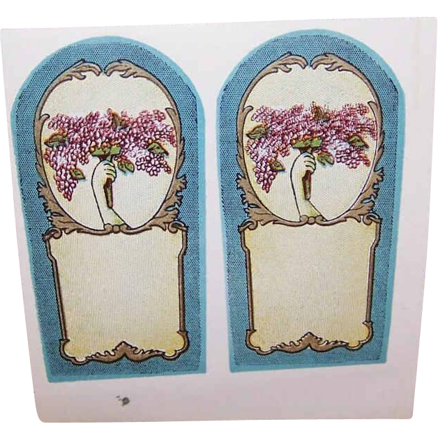 5 Sheets of ART DECO Gummed Cologne Labels - Hand Holding Lilacs