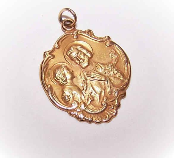 OLD STORE STOCK! Vintage 14K Gold Religious Medal - Saint Joseph & Infant Jesus!
