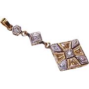 OLD STORE STOCK! Art Deco 14K Gold & Diamond Lavaliere!