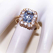 Vintage 14K Gold & 1.86CT TW Blue/White Spinel Fashion Ring!