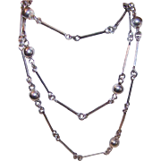 """Vintage Italian STERLING SILVER """"Ball & Chain"""" Link Necklace!"""