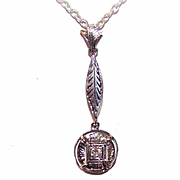 OLD STORE STOCK! Art Deco 14K Gold & .10CT Diamond Lavaliere Pendant!