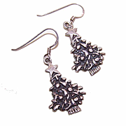 Vintage STERLING SILVER Drop Earrings - Christmas Trees!
