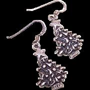 Vintage STERLING SILVER Drop Earrings - Christmas Trees!
