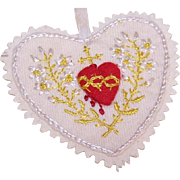 Vintage Hand Sewn & Embroidered Religious SACRED HEART Ornament!