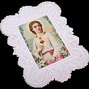 ANTIQUE VICTORIAN Religious Paper Lace Devotional - Sacred Heart of Jesus!
