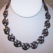 "Stunning DANECRAFT Sterling Silver ""Triple Leaf"" Link Necklace!"