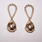 Vintage HAND HAMMERED Sterling Silver Vermeil Drop Earrings!