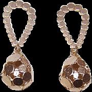 Vintage HAND HAMMERED Sterling Silver Vermeil Drop Earrings!