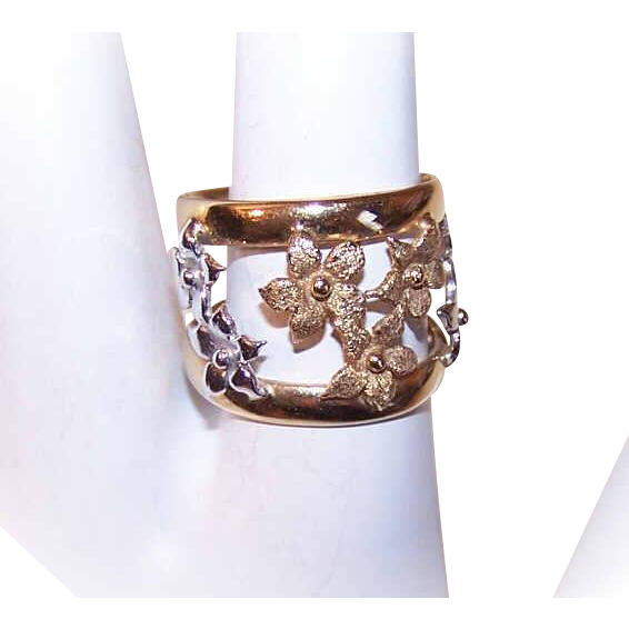 Vintage ITALIAN 14K Gold Ring - Cigar, Band, Florals, White, Yellow, Gold