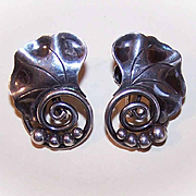 Retro Modern ALPHONSE LAPAGLIA Sterling Silver Screwback Earrings!