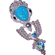 Vintage SAJEN Sterling Silver & Multi-Gemstone GODDESS Pin/Pendant!