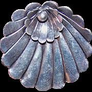 Vintage STERLING SILVER Pin - Alphonse LaPaglia,  Black, Starr & Gorham, Shell, Hand Wrought