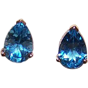 Vintage 10K Gold & 5CT TW Blue Topaz Pierced Earrings - Posts with Clutch!