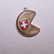 Vintage 18K Gold & Enamel Souvenir Charm from Switzerland - Swiss Cheese!