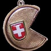 Vintage 18K Gold & Enamel Souvenir Charm from Switzerland - Swiss Cheese!