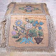C.1890 RUSSIAN Hand Sewn & Beaded Velvet Chalice Cover/Ciboreum Cover!