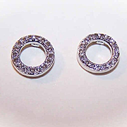 Vintage STERLING SILVER & Diamond Pierced Earrings!