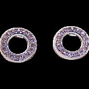 Vintage STERLING SILVER & Diamond Pierced Earrings!