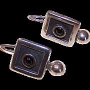 Vintage STERLING SILVER & Garnet Earrings!